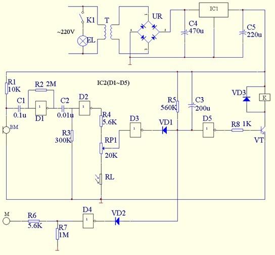 图1 声,光,触摸三控照明灯电路原理图